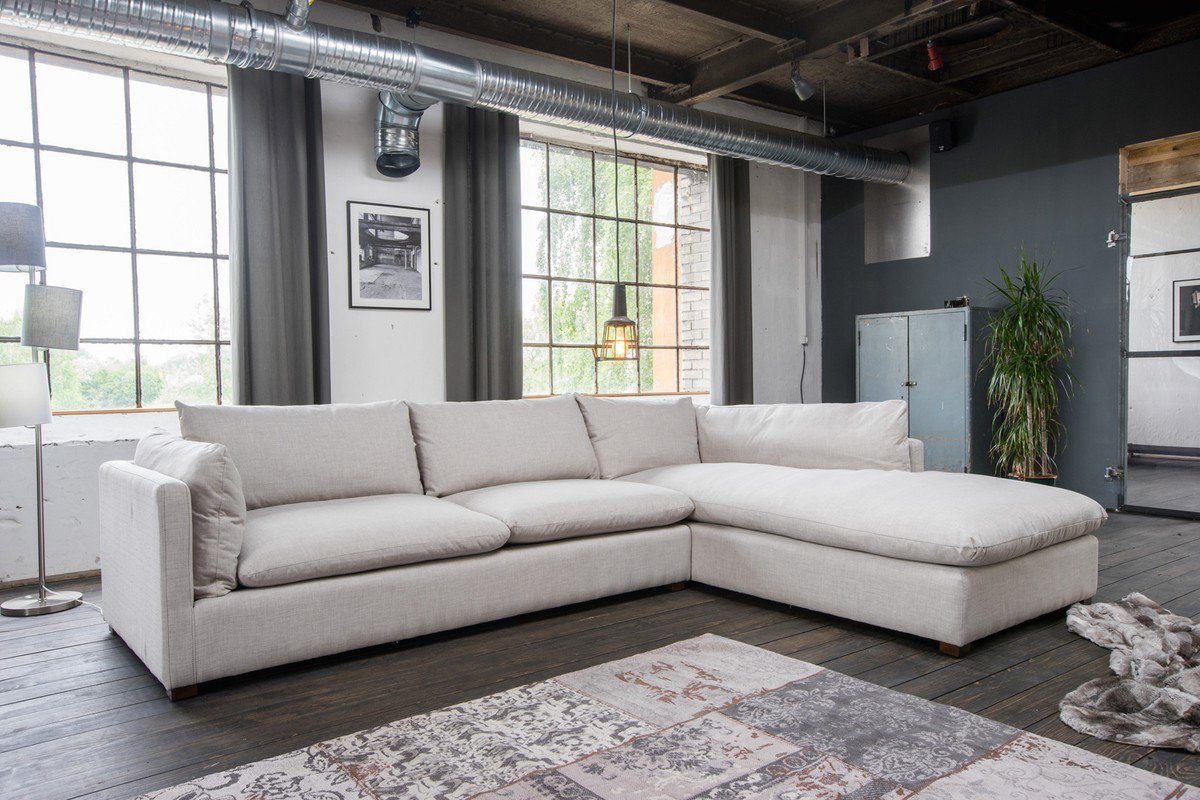 Kasper-Wohndesign Ecksofa Lounge Stoff Hellgrau Recamiere