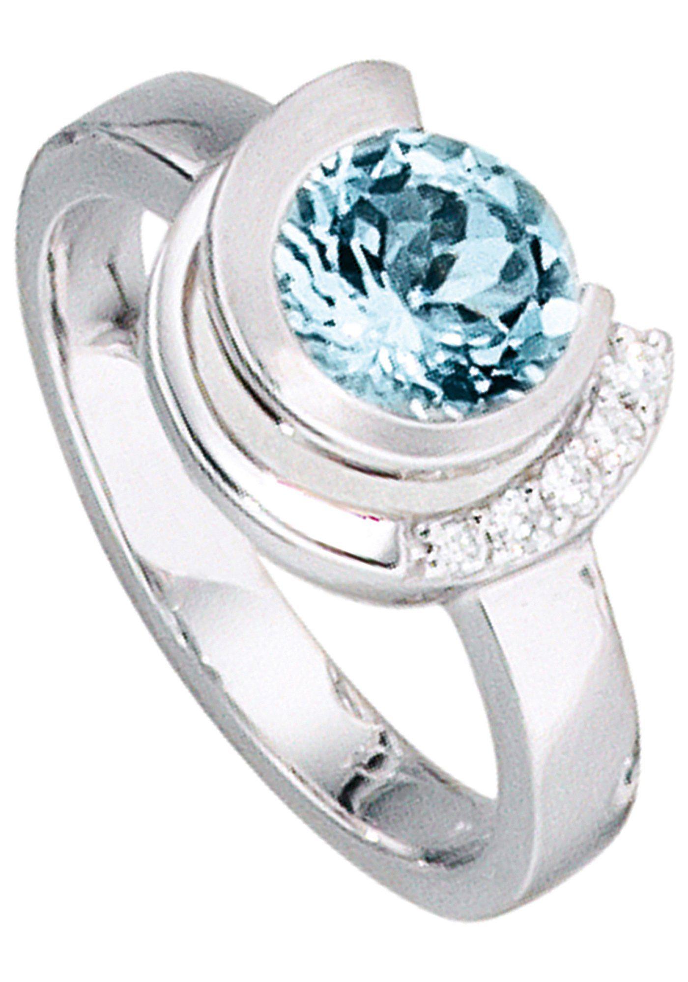 JOBO Diamantring 585 Weigold mit 5 Diamanten und Aquamarin online kaufen  OTTO