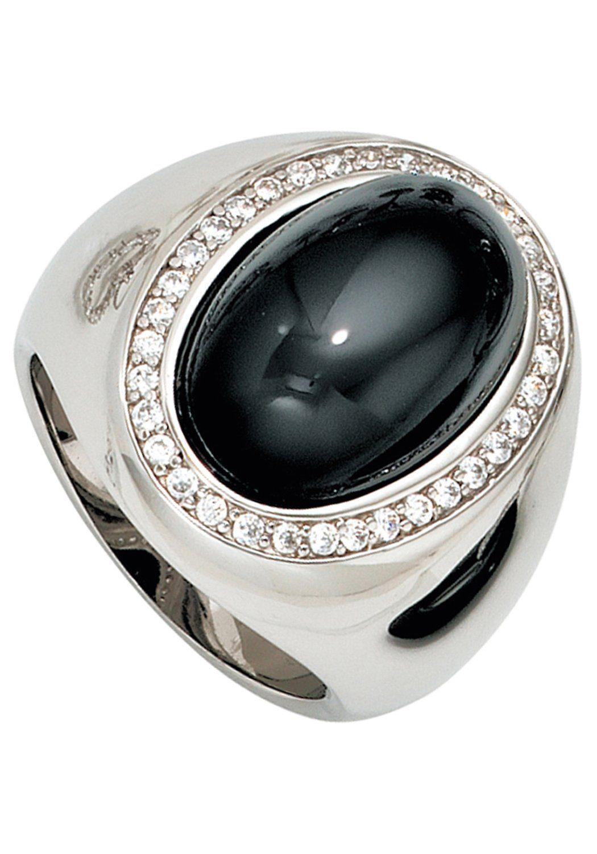 JOBO Fingerring breit 925 Silber mit Onyx und Zirkonia online kaufen  OTTO