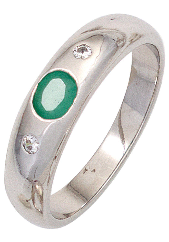 JOBO Silberring 925 Silber mit Smaragd und Zirkonia Breite ca 55 mm online kaufen  OTTO
