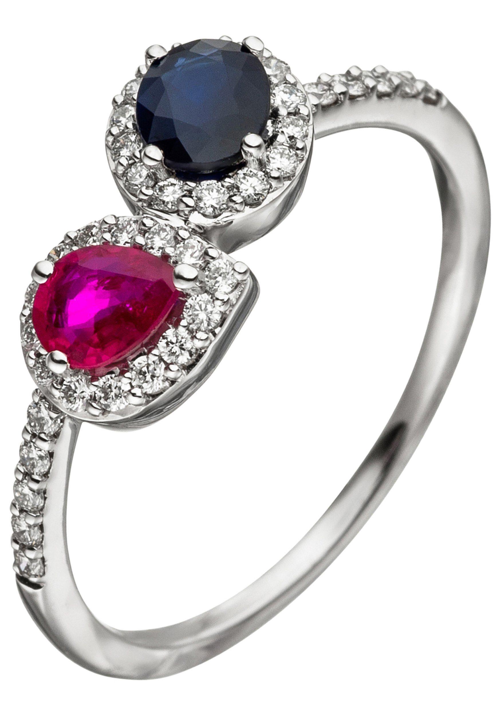 JOBO Diamantring 585 Weigold mit 38 Diamanten Rubin Safir