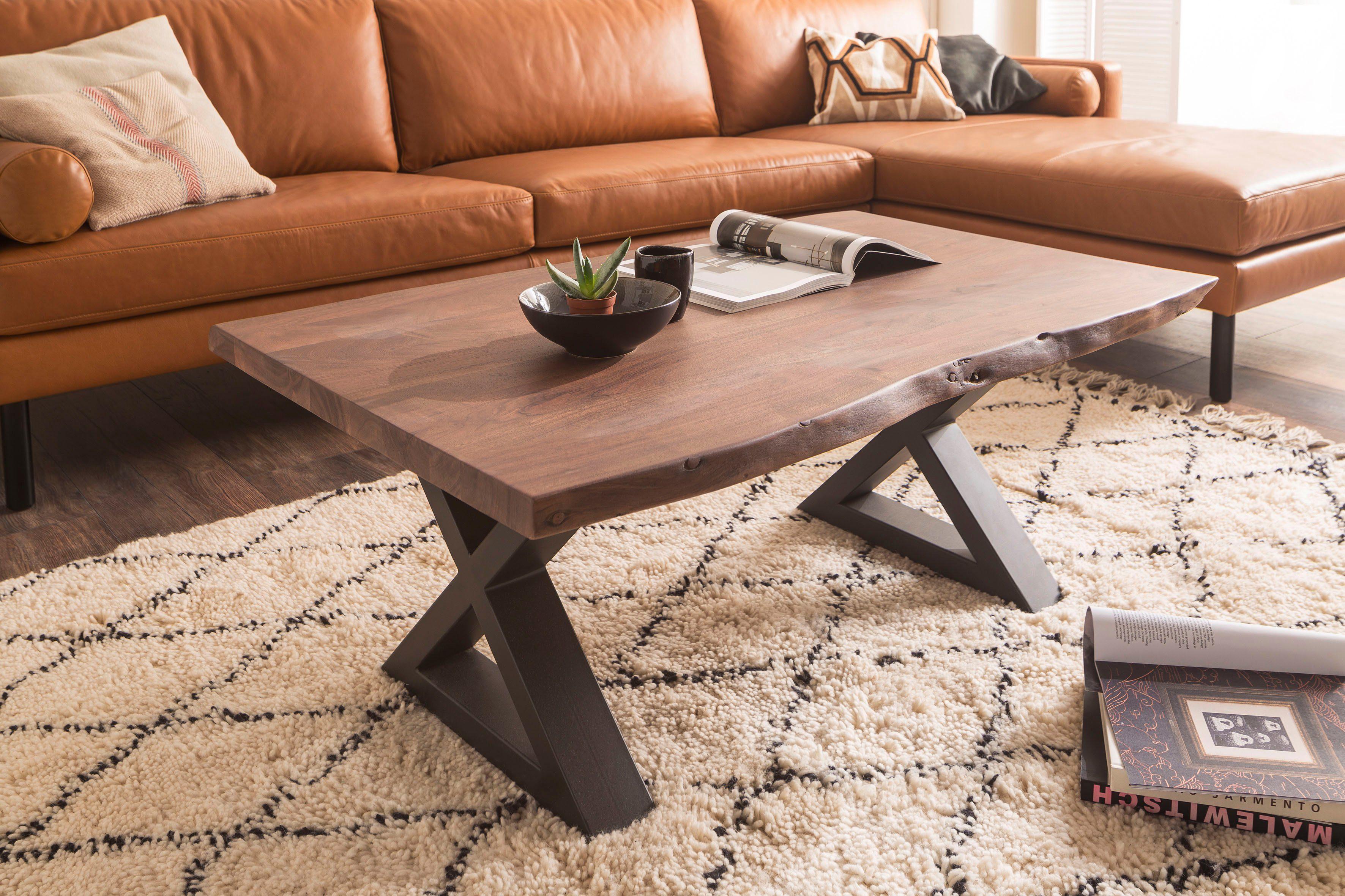 MCA furniture Baumkantentisch, Couchtisch Massivholz mit ...