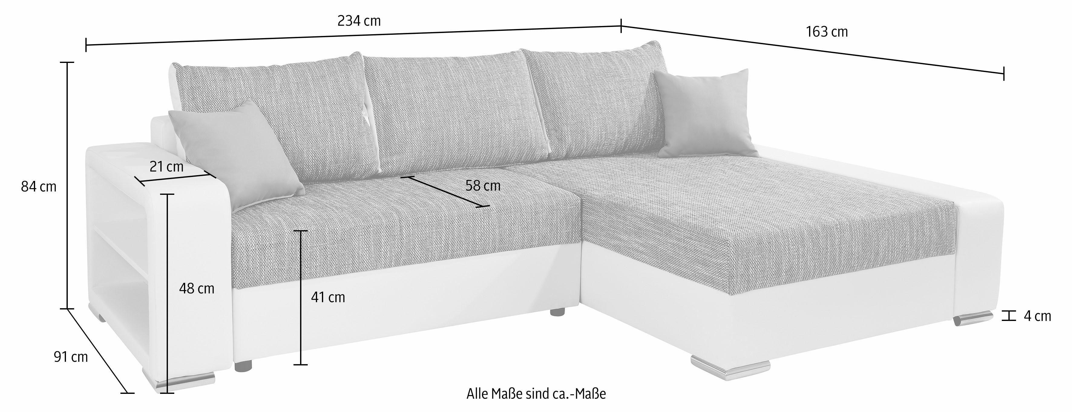 Hoekbank XL met armleuning met vakken eronder naar keuze