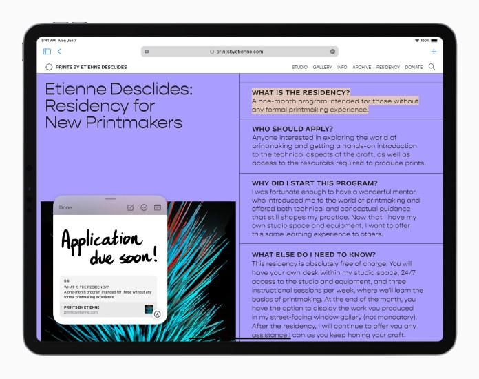 iPadOS 15: Quick Note