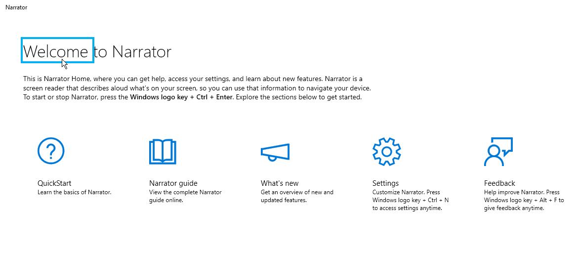 Configuración del narrador de Windows