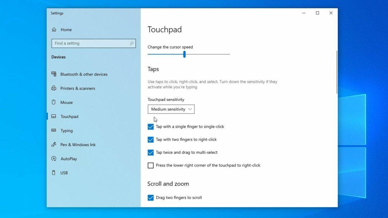 configuración del panel táctil de Windows