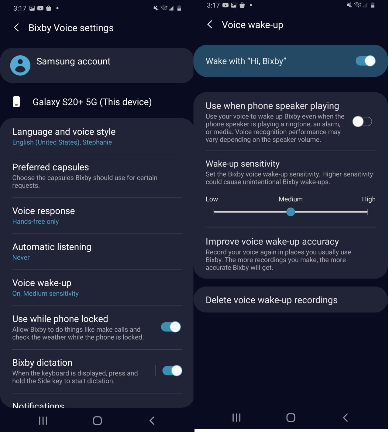 Configuración de Bixby en S20