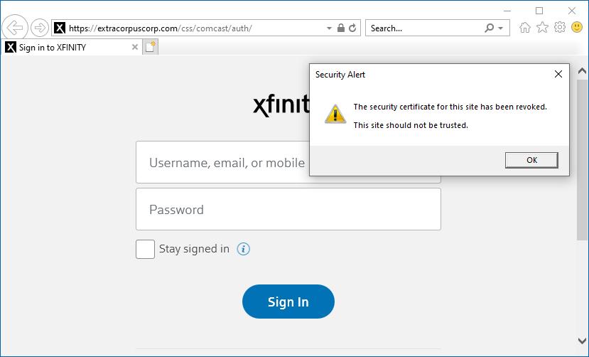 Seguridad de la página de phishing revocada