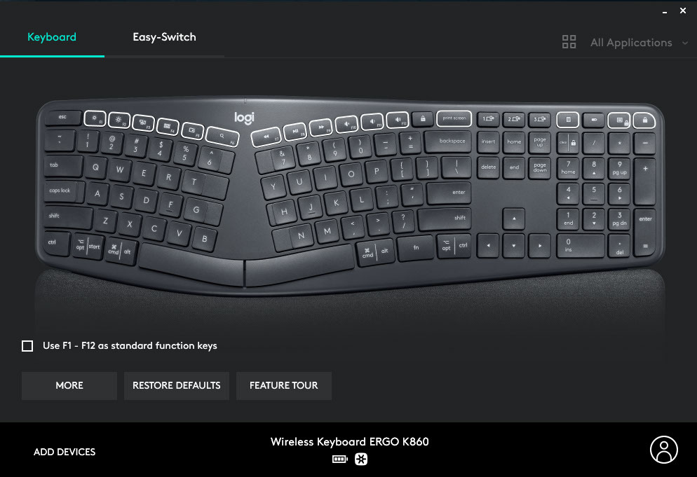 Настройки функциональных клавиш беспроводной клавиатуры Logitech Ergo K860