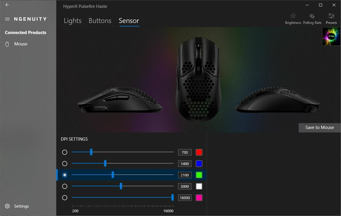 HyperX Pulsefire Haste Gaming Mouse software