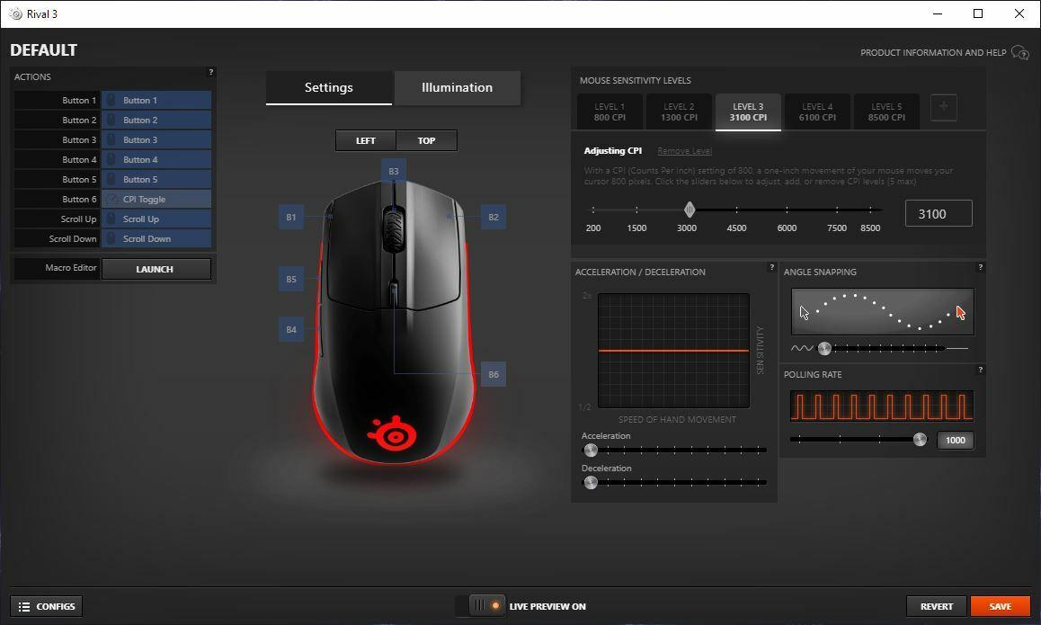 Программное обеспечение для игровой мыши Steelseries Rival 3
