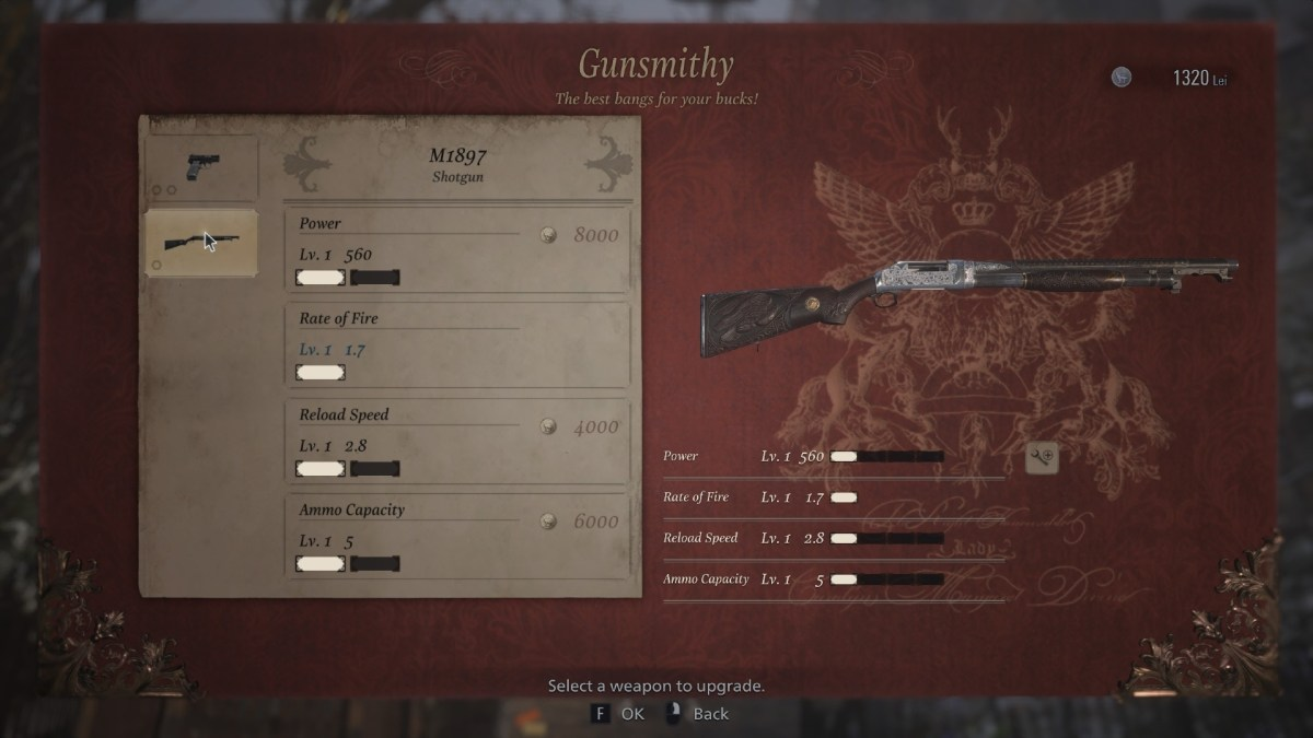 Resident Evil Village's weapon upgrade system could use some work
