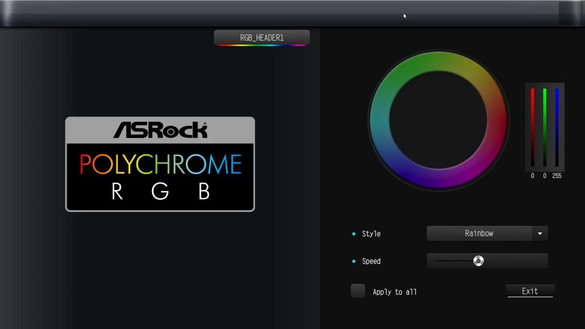 Asrock Z490 Taichi BIOS RGB controls