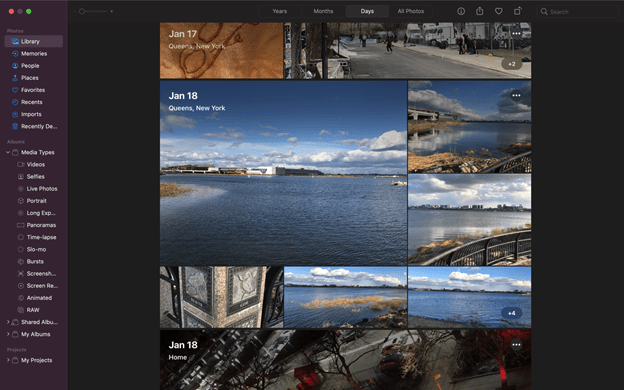 Apple Photos library view