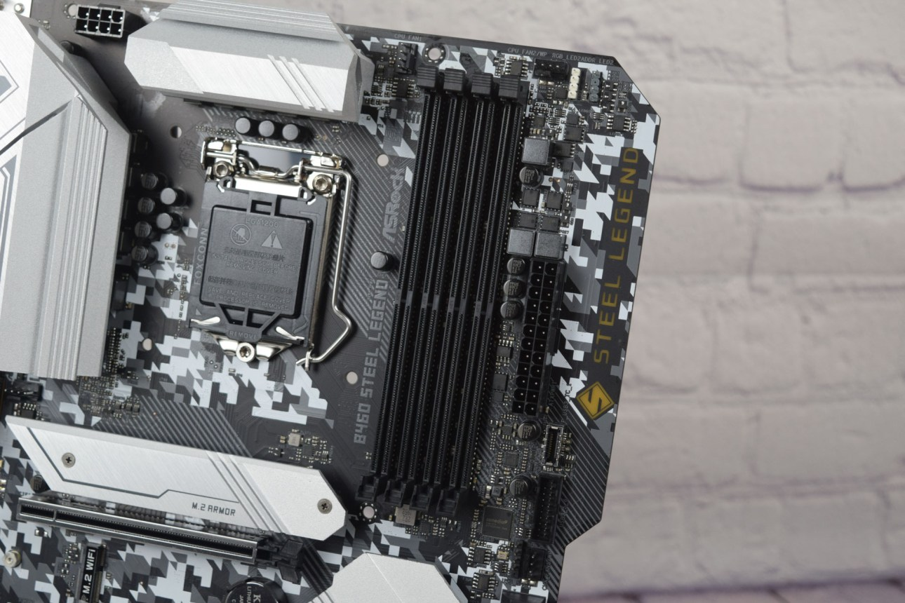 Крупный план логотипа Asrock B460 Steel Legend