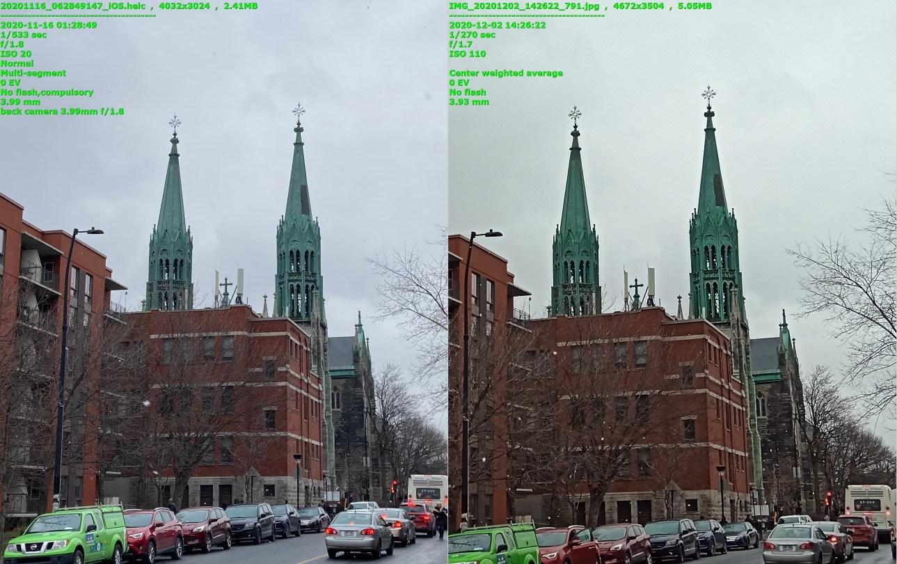 Две почти идентичные фотографии здания с двумя высокими шпилями