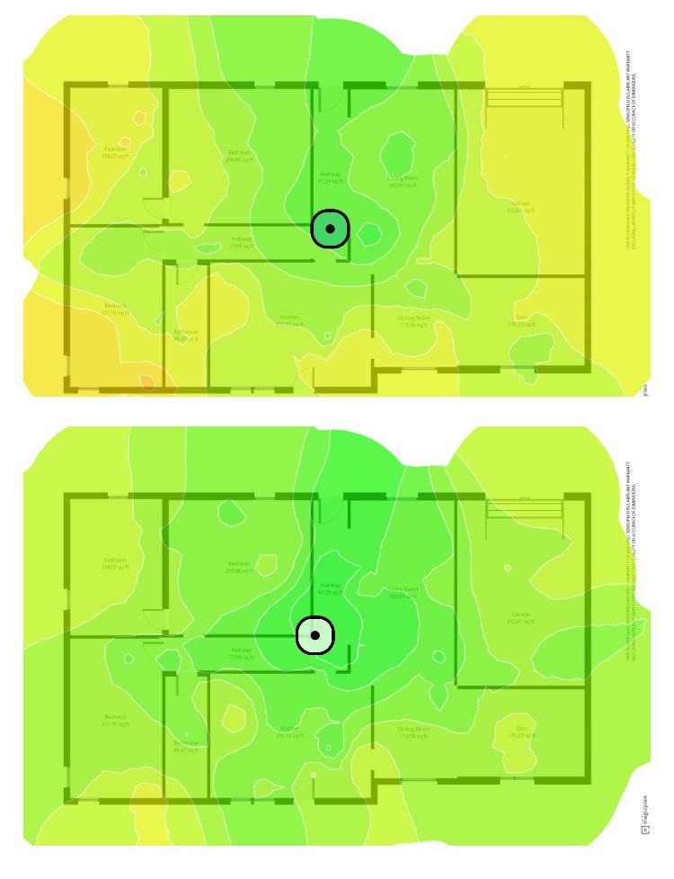 Тепловая карта мощности сигнала расширителя диапазона Wi-Fi 6 TP-Link AX1500 (RE505X)