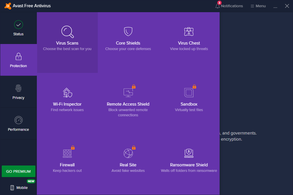 Avast Free Antivirus Locked Features
