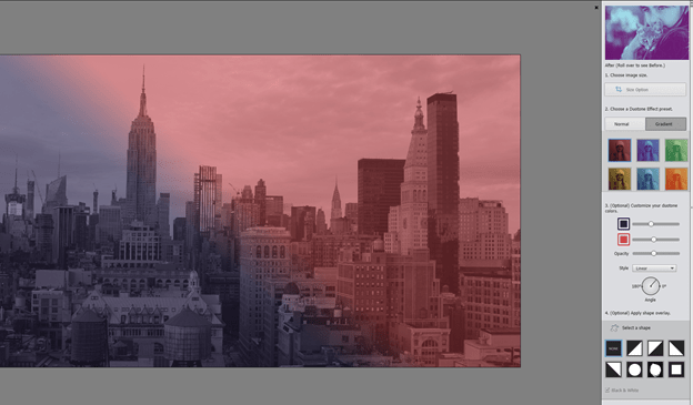 Duotone effect in Adobe Photoshop Elements