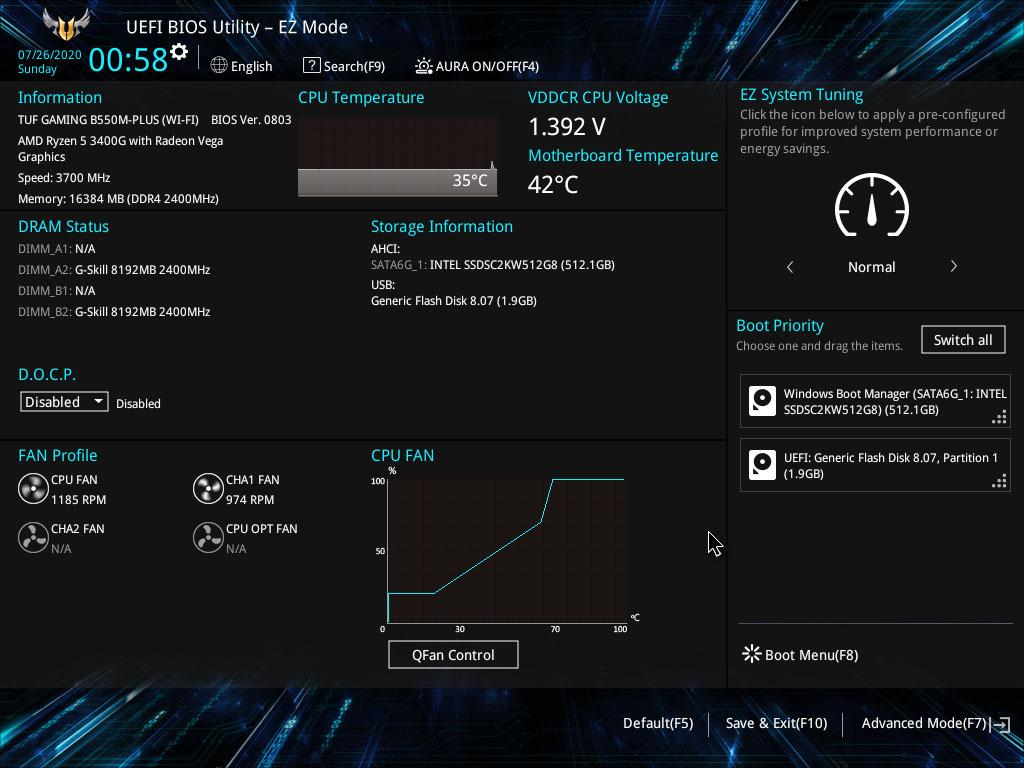 Asus TUF Gaming B550M-Plus (Wi-Fi) BIOS режима EZ