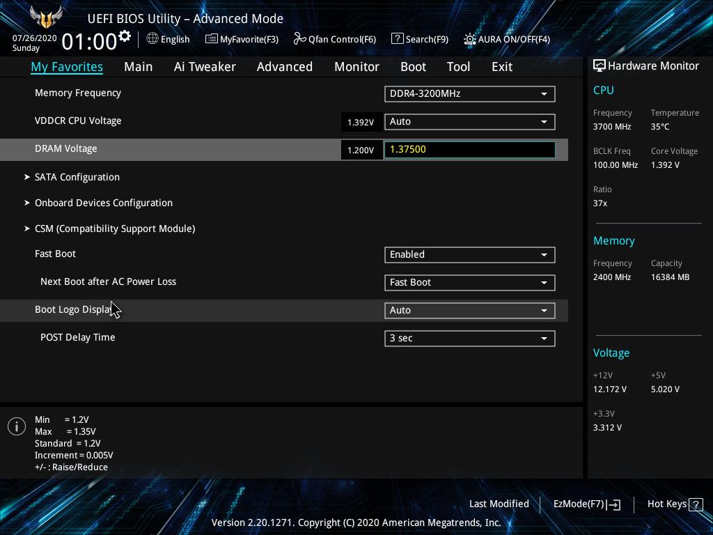 Asus TUF Gaming B550M-Plus (Wi-Fi) Обзор вкладки избранного BIOS