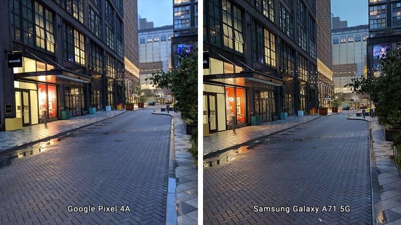 Low light street comparison between Google Pixel 4a and Samsung Galaxy A71 5G