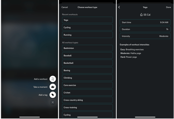 Screenshots of the Oura app