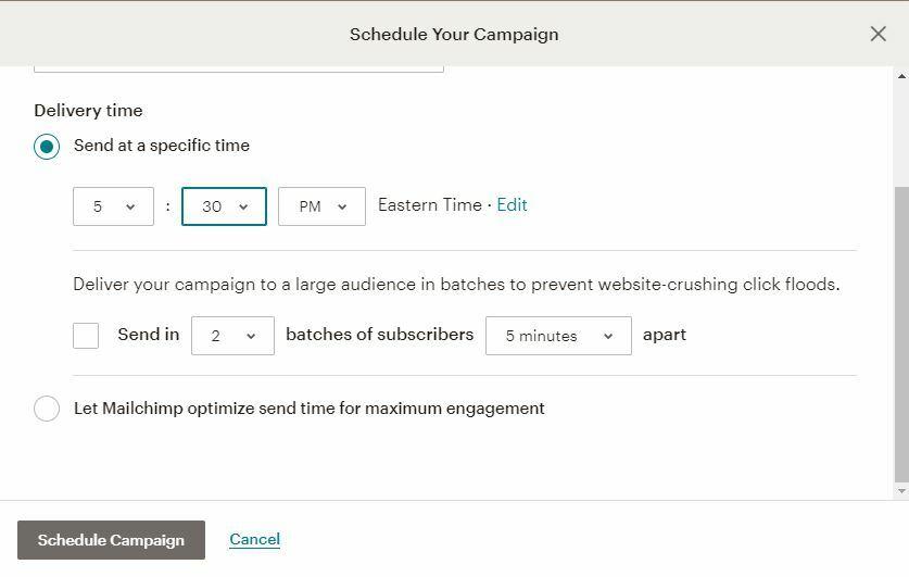 Mailchimp 2020 Schedule Campaign