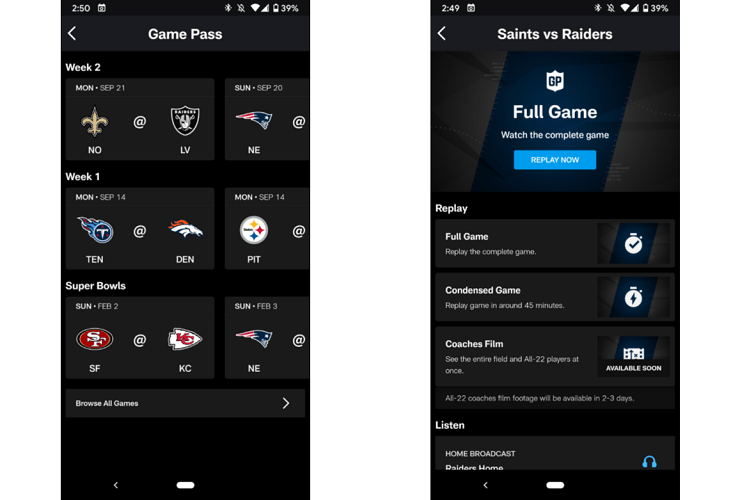 NFL Game Pass Android App