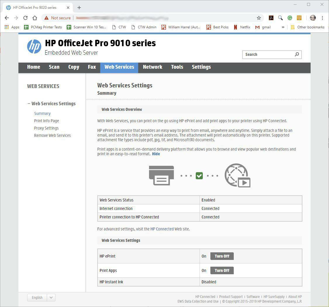 Веб-портал HP OfficeJet Pro 8025