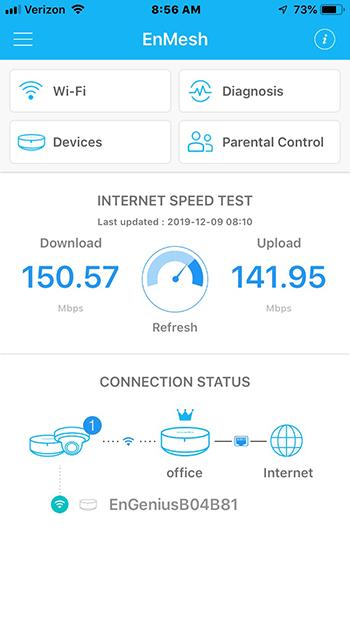 Тест скорости EnGenius Tri-Band Whole Home Wi-Fi System (ESR580)