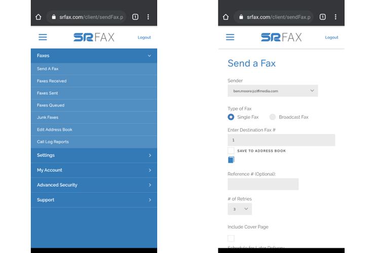 Мобильный веб-сайт SRFax
