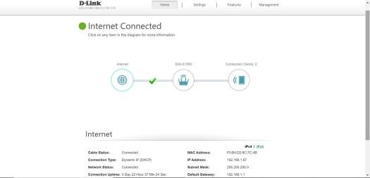 Capture d'écran de la console de configuration D-Link DIR-X1560