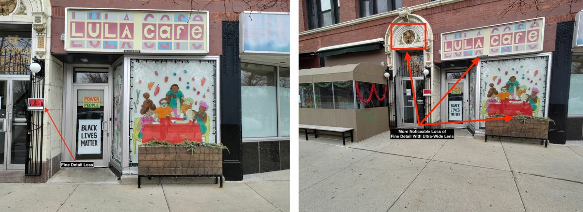Two clear photos of a storefront in overcast conditions