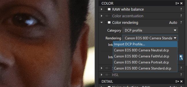 Apply a DCP color profile in DxO PhotoLab