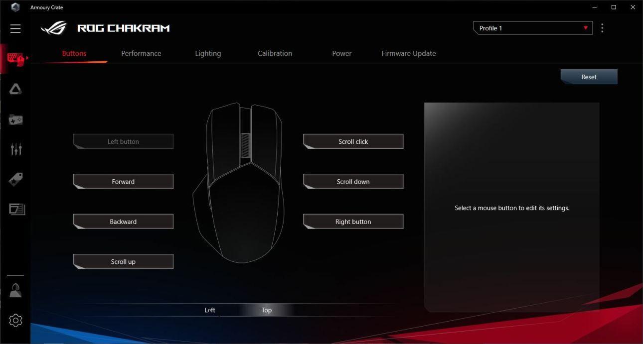 Настройки кнопок беспроводной игровой мыши Asus ROG Chakram