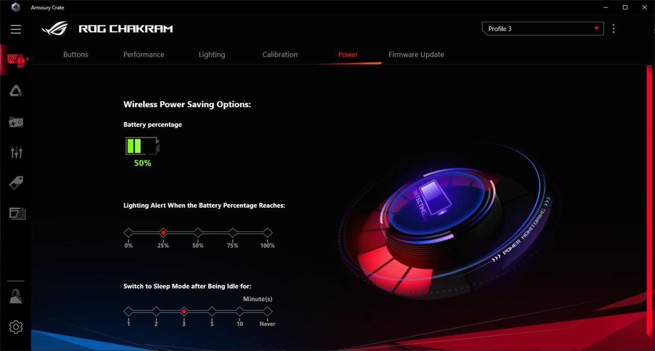 Параметры энергосбережения беспроводной игровой мыши Asus ROG Chakram