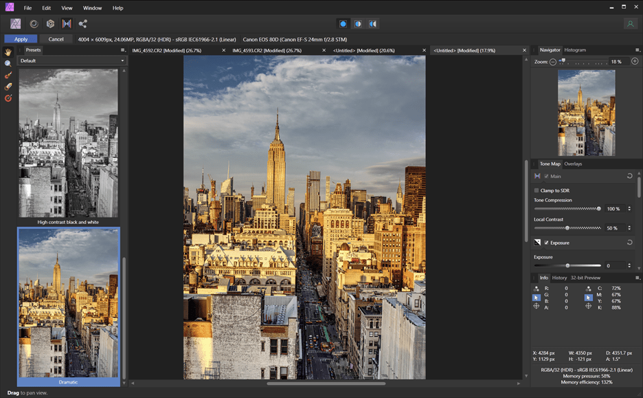 HDR merge in Serif Affinity Photo