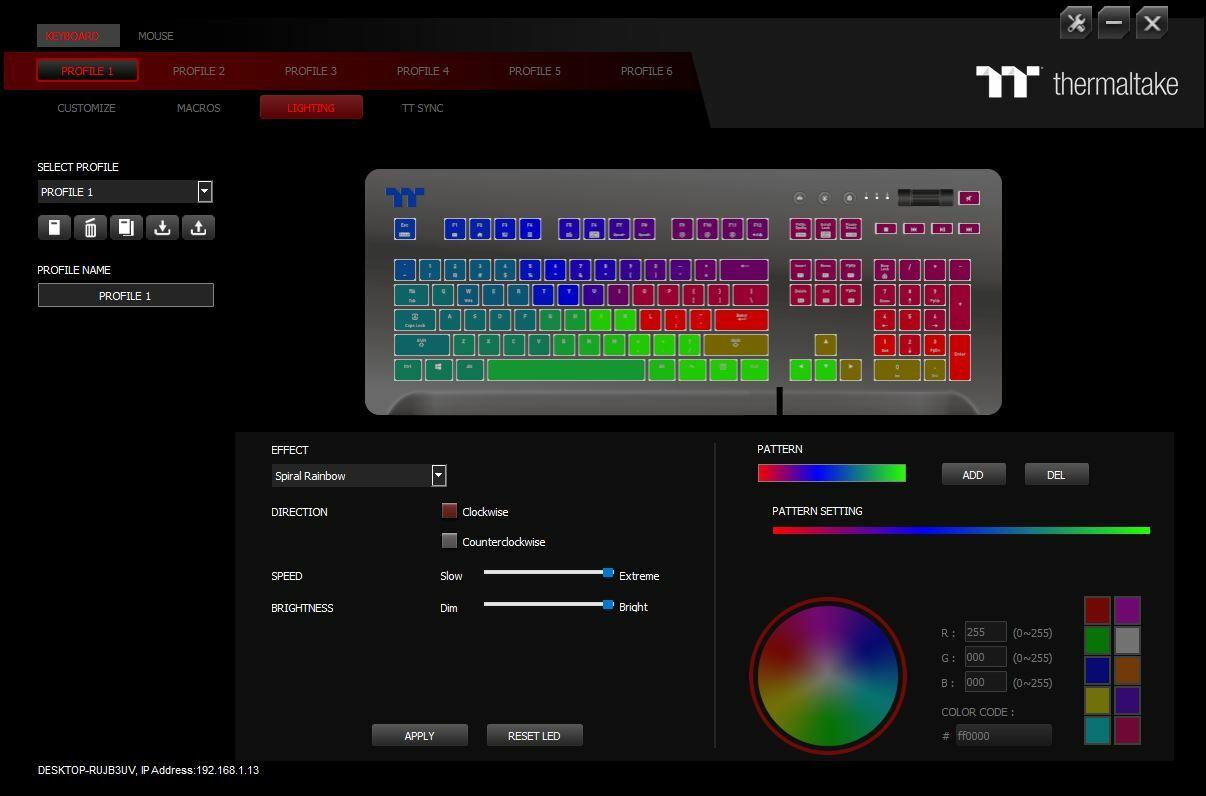 Настройки цвета игровой клавиатуры Thermaltake Level 20 GT RGB Razer Gaming Keyboard
