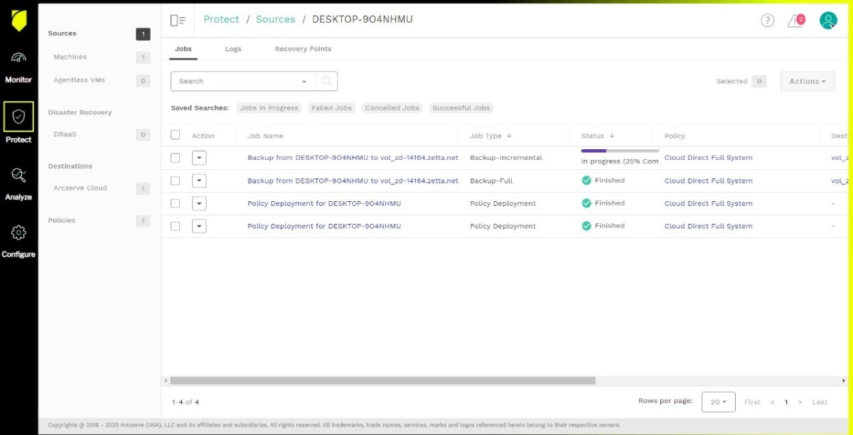 Arcserve reporting selection of recent backups