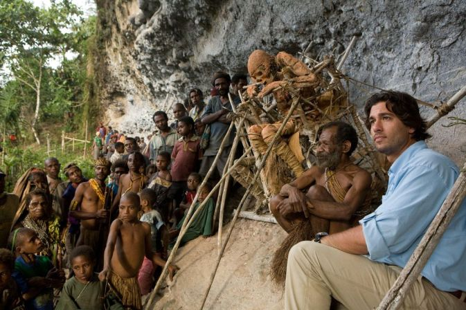 Josh Bernstein with secret mummifications rituals in Papua New Guinea