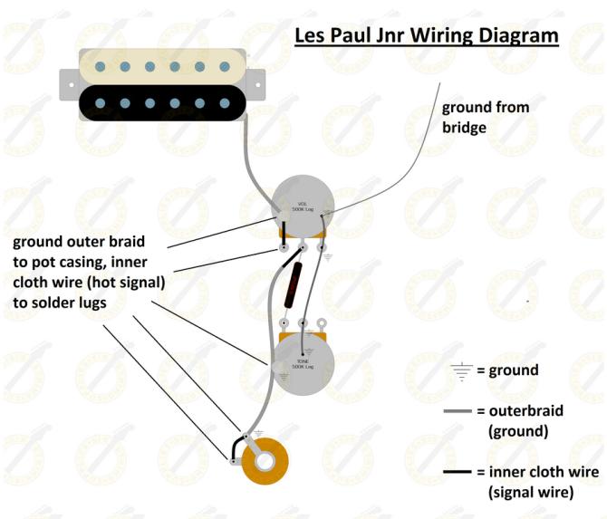 les paul junior wiring diagram  six string supplies
