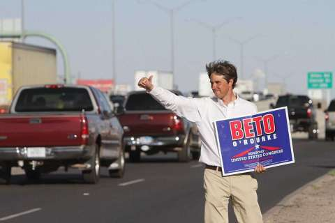 Beto O'Rourke out during his campaign