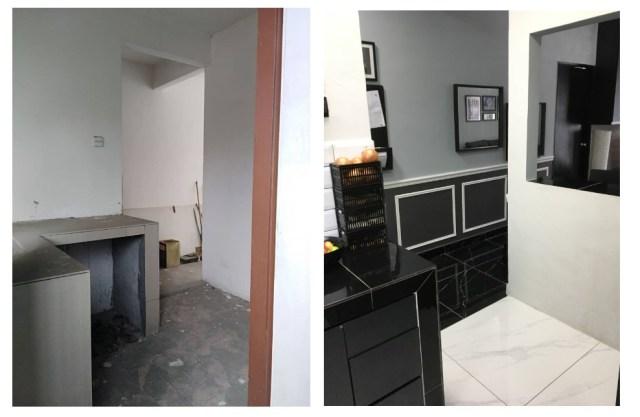 keadaan dapur sebelum dan selepas diubah
