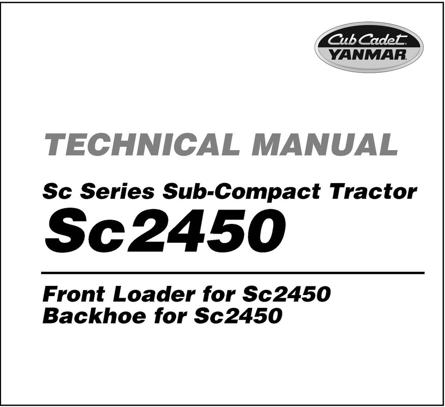 Cub Cadet Yanmar SC Series SC2450 Service Repair Manual