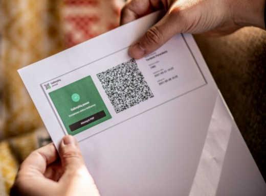 QR code printed paper.