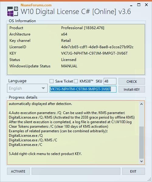 Windows 10 Digital License (C Sharp) v3.7