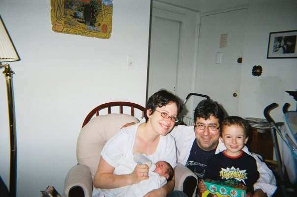 Maggie Haberman with her husband and two children