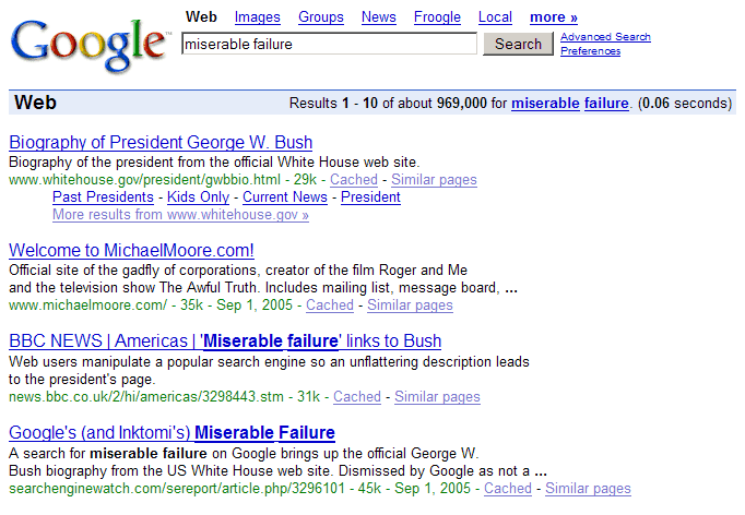 Former President George W Bush google-bombing