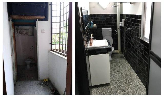keadaan tandas sebelum dan selepas diubah